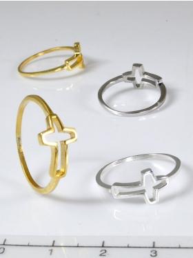 Kreuz, Ring, 925 Silber vergoldet