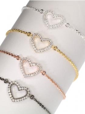 Filigranes Armband mit einem zirkoniabesetztem Herz aus 925 Silber in verschiedenen Oberflächen, unisize da stufenlos verstellbar