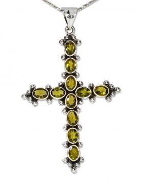 Fantasy-Mittelalter Kreuz Anhänger, mit facettiertem Peridot in 925 Silber, 77/45 mm