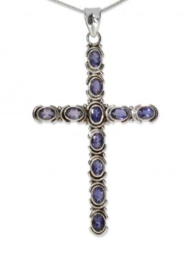 Fantasy-Mittelalter Kreuz Anhänger, mit facettiertem Iolit in 925 Silber, 80/45 mm