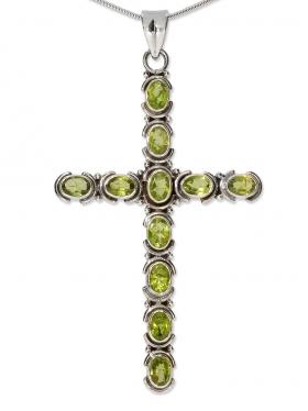 Fantasy-Mittelalter Kreuz Anhänger, mit facettiertem Peridot in 925 Silber, 80/45 mm