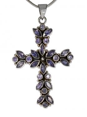 Fantasy-Mittelalter Kreuz Anhänger, mit facettiertem Iolit in 925 Silber, 60/35 mm