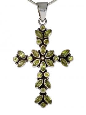 Fantasy-Mittelalter Kreuz Anhänger, mit facettiertem Peridot in 925 Silber, 60/35 mm mm
