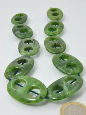 Nephrit (Jade), Canada, Rahmen, Maße ca. 35 x 22 mm, Strang 40 cm