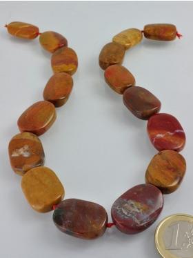 Jaspis gelb-rot, ø ca. 22 x 17 mm, Strang 40 cm