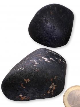 Turmalin Schörl aus Madagaskar, Trommelsteine XXL matt, 2 Unikate