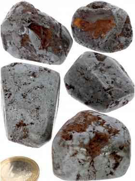 Hämatit Trommelsteine von der Insel Elba, Italien, 5 Einzelstücke