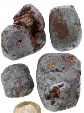 Hämatit Trommelsteine von der Insel Elba, Italien, 4 Einzelstücke