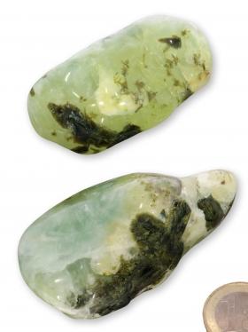 Prehnit aus Mali, Trommelsteine L-XL poliert, 2 Unikate