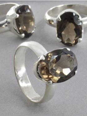 Rauchquarz, Ring facettiert, 925 Silber