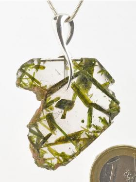 Epidot - Bergkristall, Anhänger mit Öse, Unikat