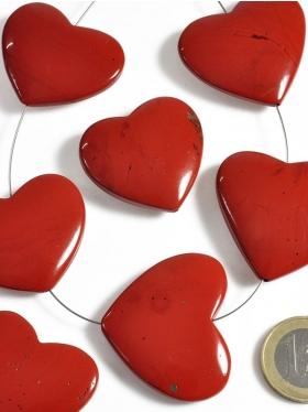 Jaspis rot, Herz, Element zum Fädeln