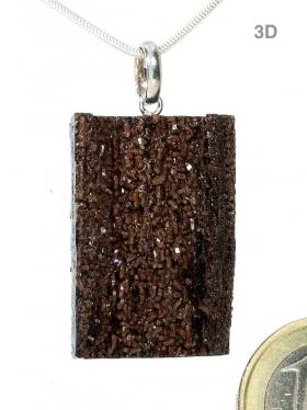 Versteinertes Holz mit Bergkristall aus Sachsen, Anhänger mit Silberöse, Unikat