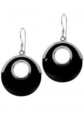 Perlmutt schwarz aus den Philippinen, Ohrhänger in 925 Silber, 1 Paar