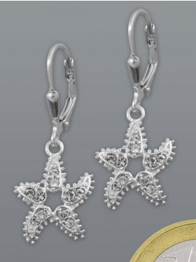 Seestern mit Zirkoniasteinchen, Ohrhänger, 925 Silber
