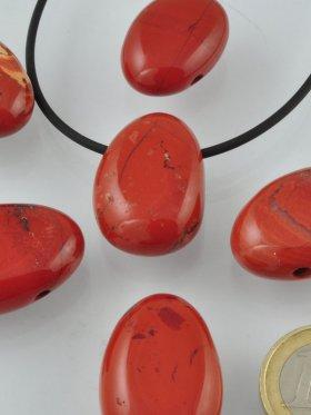 Trommelsteine gebohrt: Jaspis rot, VE 3 Stk.