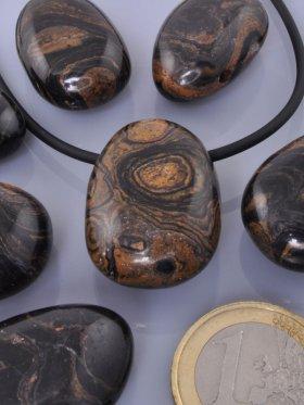 Stromatolith, Trommelsteine gebohrt, VE 3 Stück