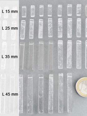 """Bergkristall Stäbchen, """"Piece Concept"""" Einzelelemente, verschiedene Längen - L 15 mm - VE 8 St."""