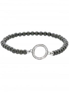 Hämatit ø 4 mm, Symbolarmband Ring (13 mm) in 925 Silber mit Zirkonia, 1 St.
