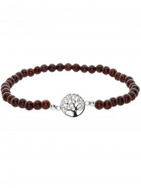 Granat ø 4 mm, Symbolarmband Baum des Lebens (10 mm) in 925 Silber mit Zirkonia, 1 St.