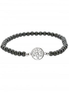 Hämatit ø 4 mm, Symbolarmband Baum des Lebens (10 mm) in 925 Silber mit Zirkonia, 1 St.
