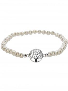 Muschelkernperle weiss ø 4 mm, Symbolarmband Baum des Lebens (10 mm) in 925 Silber mit Zirkonia, 1 St.