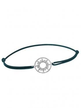 Symbolarmband Sonne mini an Elastikband, dunkelgrün, Silber rhodiniert