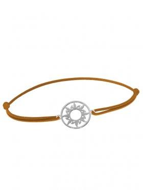 Symbolarmband Sonne mini an Elastikband, hellbraun, Silber rhodiniert