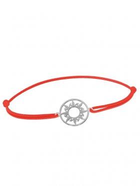 Symbolarmband Sonne mini an Elastikband, rot, Silber rhodiniert