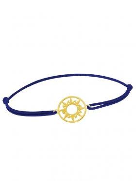 Symbolarmband Sonne mini an Elastikband, dunkelblau, Silber vergoldet