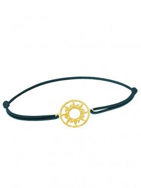 Symbolarmband Sonne mini an Elastikband, dunkelgrün, Silber vergoldet