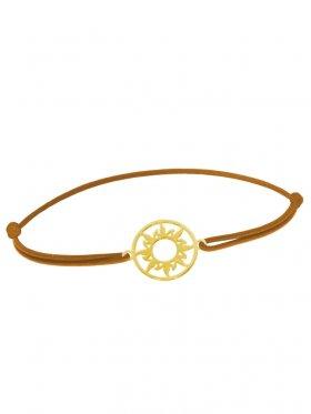 Symbolarmband Sonne mini an Elastikband, hellbraun, Silber vergoldet