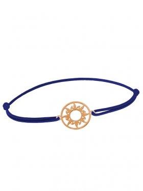 Symbolarmband Sonne mini an Elastikband, dunkelblau, Silber rosévergoldet