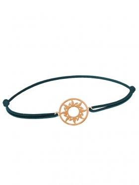 Symbolarmband Sonne mini an Elastikband, dunkelgrün, Silber rosévergoldet