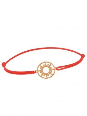 Symbolarmband Sonne mini an Elastikband, rot, Silber rosévergoldet