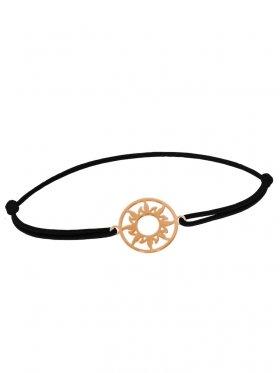 Symbolarmband Sonne mini an Elastikband, schwarz, Silber rosévergoldet