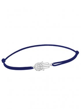 Symbolarmband Fatimas Hand mini an Elastikband, dunkelblau, Silber rhodiniert