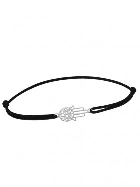 Symbolarmband Fatimas Hand mini an Elastikband, schwarz, Silber rhodiniert