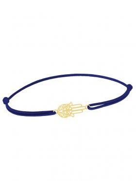 Symbolarmband Fatimas Hand mini an Elastikband, dunkelblau, Silber vergoldet