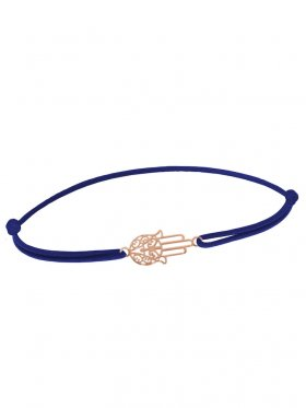 Symbolarmband Fatimas Hand mini an Elastikband, dunkelblau, Silber rosévergoldet