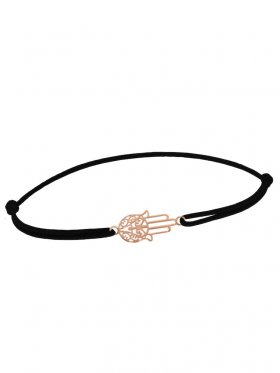 Symbolarmband Fatimas Hand mini an Elastikband, schwarz, Silber rosévergoldet