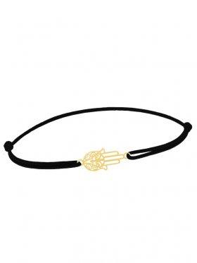 Symbolarmband Fatimas Hand mini an Elastikband, schwarz, Silber vergoldet