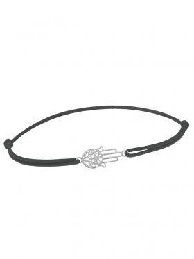 Symbolarmband Fatimas Hand mini an Elastikband, dunkelgrau, Silber rhodiniert