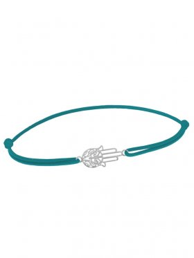 Symbolarmband Fatimas Hand mini an Elastikband, petrol, Silber rhodiniert