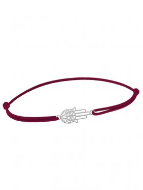 Symbolarmband Fatimas Hand mini an Elastikband, weinrot, Silber rhodiniert