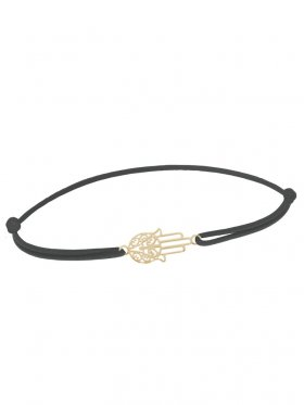 Symbolarmband Fatimas Hand mini an Elastikband, dunkelgrau, Silber vergoldet