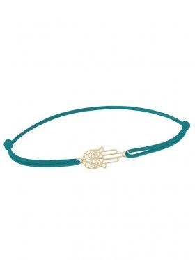 Symbolarmband Fatimas Hand mini an Elastikband, petrol, Silber vergoldet