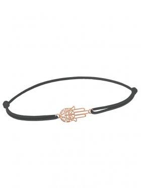 Symbolarmband Fatimas Hand mini an Elastikband, dunkelgrau, Silber rosévergoldet