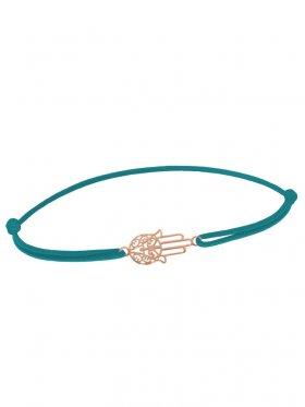 Symbolarmband Fatimas Hand mini an Elastikband, petrol, Silber rosévergoldet
