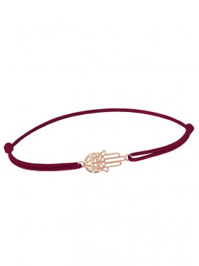 Symbolarmband Fatimas Hand mini an Elastikband, weinrot, Silber rosévergoldet